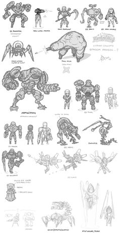 kawaiik quake stroggos and doom, revenant and iron maiden. Game Character Design, Character Concept, Character Art, Doodle Characters, Chibi Characters, Android Art, Arte Robot, Alien Concept Art, Pretty Art
