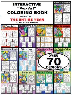 "Fun, ""pop art"" inspired, interactive coloring sheets for all occasions! Over 70 different designs for all holidays and seasons.   A happy customer writes: ""Love this product. My high school kids enjoy these sheets after finishing a test. It gives them a great ""brain break"" while allowing them to be creative!"""
