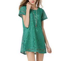 Sexy Hollow Lace Women Dresses O-Neck Short Sleeve Slim Fit Dress Above Knee Vestidos Robe Femme Plus Size 3XL 4XL 5 Colours