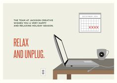 'Relax and Unplug' Illustrated Corporate Holiday Card. By Lauren Hampton for #Minted #greetingcard #graphicdesign