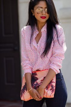 Independence In Style ( Dotted Shirts - cream polka dot blouse, wrap blouse white, designer blouse *ad