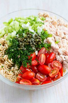 Tuna pasta salad is a fantastic option for summertime barbecues. This one is lightened up with an easy vinaigrette. Tuna Salad Pasta, Cobb Salad, White Pasta, Lemon Vinaigrette, White Meat, Feta, Main Dishes, Seafood, Healthy Eating