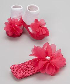 Another great find on #zulily! Hot Pink & White Gemstone Flower Headband & Socks by Vitamins Baby #zulilyfinds