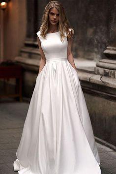 Vintage A-line Princess Ivory Satin Long Wedding Dresses with Pockets WD328