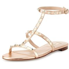 Valentino Rockstud Ankle-Strap Flat Sandal ($633) ❤ liked on Polyvore featuring shoes, sandals, flats, metal rose, stacked heel sandals, leather flats, metallic flats, metallic sandals and flat shoes