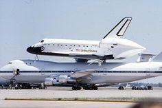 Space shuttle Discovery at Altus Air Force Base, Altus, Oklahoma circa 1981.