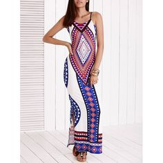 #Women #GeometricPrint Backless Slit V-neck Sleeveless #MaxiDress is suitable for every kind of skin and figure.  #LookFamous, #Lookoftheday,#Maxidresses,#Fashionable