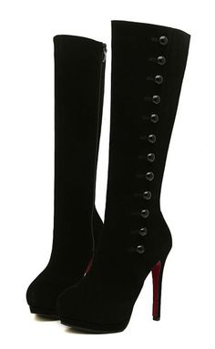 Stiletto Heels, Buttons | Mid-Calf Boots.