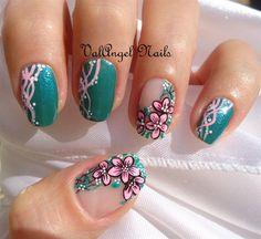 Nail art Pink Floral by ValangelNails - Nail Art Gallery nailartgallery.nailsmag.com by Nails Magazine www.nailsmag.com #nailart