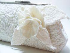 Wedding clutch , Purse bag for special occasion, Ivory wedding felted merino wool clutch. $117.00, via Etsy.