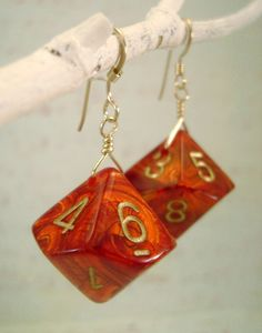 D10 Dice Earrings - Irridescent Red and Gold - Just Roll. $14.00, via Etsy.