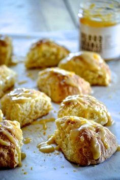 Blood Orange Marmalade Scones - made with Golden Door Blood Orange Marmalade, and drizzled with a sweet glaze, they're perfect with afternoon tea! Bread Recipes, Cooking Recipes, Cupcake Cream, Tea Biscuits, Cake Cookies, Cupcakes, Eclairs, Marmalade, Blood Orange