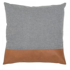 Tan Leather & Linen Stripe Cushion Cover