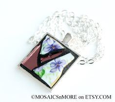 Beautiful Mosaic Pendant Necklace with Silver by MOSAICSnMORE