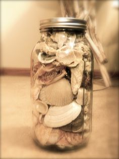 Sea shells in old canning jars...