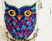 Blue Owl Coffee Mug, Hand Painted Mosaic Cup, Owl Cup