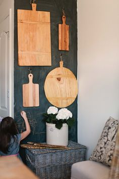 chalkboard wall and cutting boards
