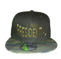 I Am President Snapback - Black/Camo Black/Camo hat with gold lettering 100% cotton Size: OS Color: Black/Camo  Price: $24.99