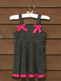 Black and Pink Polka Dot Girls Dress with by SimplyStitchedbyMKM