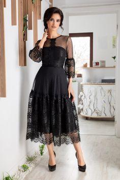 Rochie midi in clos cu maneci trei sferturi din dantela Cinderella Neagra Pret: 309 Lei Comanda online Dress Skirt, Lace Dress, Dress Up, Easy Clothing, Sunday Dress, Professional Outfits, Elegant Outfit, Lovely Dresses, Curvy Fashion