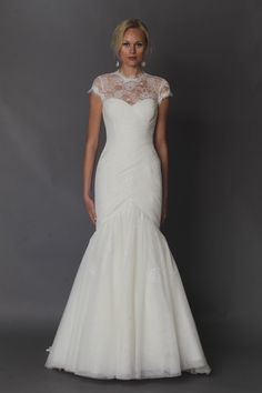 Alyne ruched lace mermaid gown with illusion neckline {photo: Dan Lecca}
