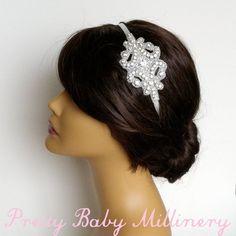 Flapper Bridal Headband  bridal headband by PrettyBabyMillinery, $50.00