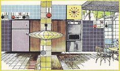 Paul Laszlo atomic kitchen rendering, vintage Pomona Tile ad copy. Repinned by Secret Design Studio, Melbourne.  www.secretdesignstudio.com
