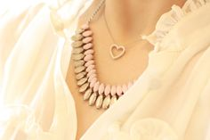 heart& stone necklace paired together.