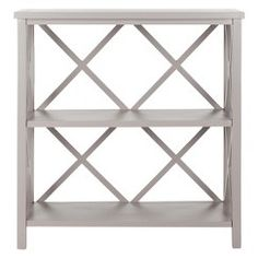 Safavieh Furniture - The Liam Open Bookcase, crafted from pine wood in a dusty green finish, proves versatile and multi-functional. With a light-weight stature and X-shaped Open Bookcase, Etagere Bookcase, Bookcase Shelves, Shelving, Bookcases, Bookcase White, Rustic Bookcase, Pine Shelves, One Kings Lane