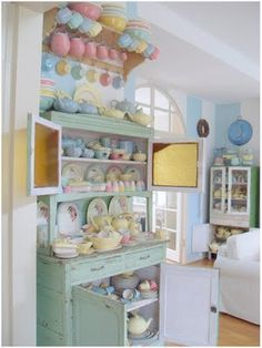 Furniture on pinterest alex drawer hoosier cabinet and - Vajilla shabby chic ...