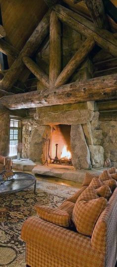 Log Cabin Fireplace Photos of fireplaces . a host of heartwarming . Log Cabin Living, Log Cabin Homes, Home And Living, Living Room, Log Cabins, Cozy Living, Cabin Interiors, Cabins And Cottages, Sweet Home
