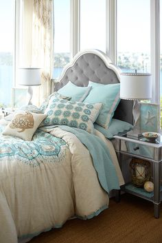 Dreaming of a seaside getaway? Set sail with Pier 1's most popular bedroom collection ever. Our Hayworth Bella Upholstered Queen Headboard serves as a glamorous anchor for any mood you'd like to set. Soft velvet upholstery, diamond-seamed button tufting and a dependable, hardwood frame make it perfect for your private retreat.