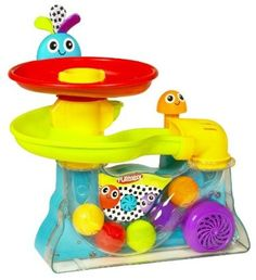I got this as a shower gift and a few months later pulled it out for my 6 month old... this is the toy that captivates all ages from bitty babies to 5 year olds and on up! Great practice for hand/eye coordination!