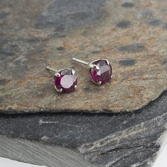 Red Garnet Stone Earrings Studs Handmade Earrings Post Earrings Stud Earrings Sterling Silver Minimalist Jewelry 4mm by FashionArtJewelry on Etsy