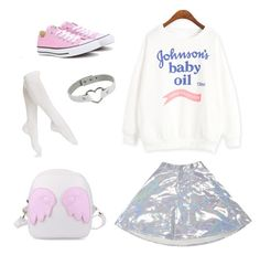 """My future outfid 2"" by luciadollface ❤ liked on Polyvore featuring Johnson's Baby, O-Mighty, Hue and Converse"