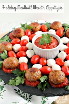 The Rise Of Private Label Brands In The Retail Meals Current Market This Easy To Make, Yet Elegant Holiday Meatball Wreath Appetizer Is Sure To Steal The Show At Your Next Holiday Party Or Get-Together. Holiday Appetizers, Yummy Appetizers, Holiday Recipes, Christmas Recipes, Christmas Holiday, Holiday Fun, Holiday Ideas, Easy Party Food, Party Food And Drinks