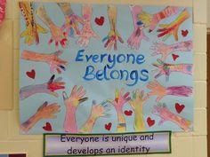 Harmony Day: Trace each child's hand and have them decorate with oil pastels. Wash over with edicol dye or food colouring and mount onto card. Our PYP central idea is displayed underneath Harmony Day Activities, Diversity Activities, Preschool Activities, Kindness Activities, Multicultural Classroom, Multicultural Activities, Classroom Displays, Classroom Themes, Classroom Door