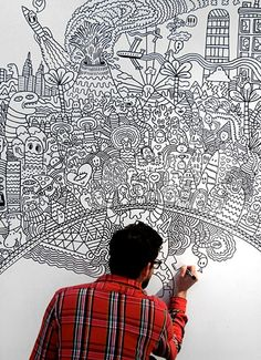 Wanted to do this since I started doing zentangles or doodling....bathroom wall to start with