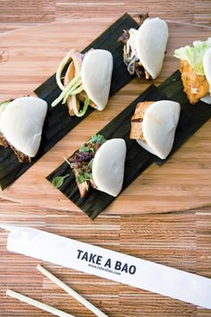 Los Angeles-based Take a Bao offers modern Chinese baos. Steamed buns are rolled flat and filled with ingredients such as free-range tamarind barbecue chicken, sweet soy organic tofu, or hoisin pork, and topped with produce from local farms.  Photo: Meiko Takechi Arquillos