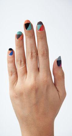 Color-blocked #nails #nailart #manicure #beauty