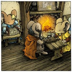 Mouse Guard: Swords & Strongholds is a two-player board game by Mouse Guard creator David Petersen and Luke Crane. The game is played using a wooden board Mouse Guard Rpg, Tooth And Tail, Character Art, Character Design, Imagines, Fantasy Creatures, Cartoon Drawings, Dungeons And Dragons, Board Games
