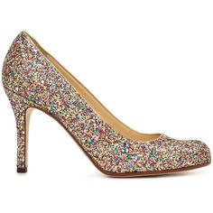 Kate Spade Karolina ($328) ❤ liked on Polyvore featuring shoes, pumps, heels, kate spade, multi glitter, heel pump, glitter heel shoes, glitter pumps and sparkly shoes
