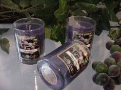 Muscadine - 3 oz. Glass Tumbler Scented Candles - Set of Three. Burn up to 15 hours per votive. premium scented 3 oz round votive made with premium grade fragrance oil and non-lead wicks. Made in the USA.