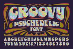 GROOVY PSYCHEDELIC • Retro Font Roundup • Little Gold Pixel • #psychedelic #groovy #hippie #retro #typography #type #typeface #fonts #graphicdesign #1970s #1960s Hand Lettering Alphabet, Alphabet Design, Groovy Font, 60s Font, Retro Font, Graphic Design Software, Typography Fonts, Retro Design, Summer Of Love