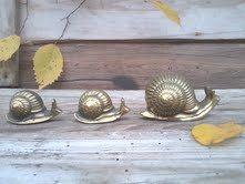Retro brass snail setthree heavy brass by happydayantiques on Etsy, $23.00