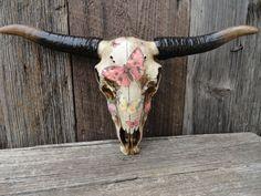 Cow Skull , Faux Taxidermy , Antlers , Wall Decor , Steer Skull , Animal Skull Art , Butterfly Decor , Longhorn Skull on Etsy, $80.00