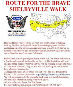 Route for the Brave Shelbyville Walk – The 5-mile walk will begin and end in downtown Shelbyville on the circle. We will walk from the circle in downtown Shelbyville down State Road 44 toward the Walmart, then walk back to the circle. View the route for the Shelbyville Walk. The event starts at 2:30 p.m. and the walk will conclude at 4 p.m. We will have activities after the walk. All...