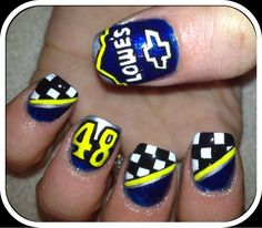 Nascar Jimmie Johnson Nails - LOWES! Shawn would love if I did this lol