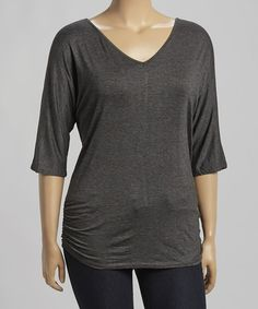 Look what I found on #zulily! Charcoal Ruched Dolman Top - Plus #zulilyfinds