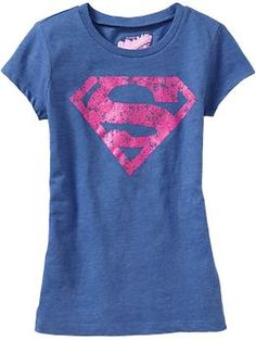 """Always love superhero shirts for girls.  Only wish the """"S"""" could be in red instead of pink (you know, like the real Superman and Supergirl wear!).  From Old Navy, sizes 5-16."""